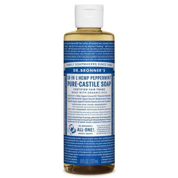 Dr Bronner Pure Castile Liquid Soap Peppermint 237ml