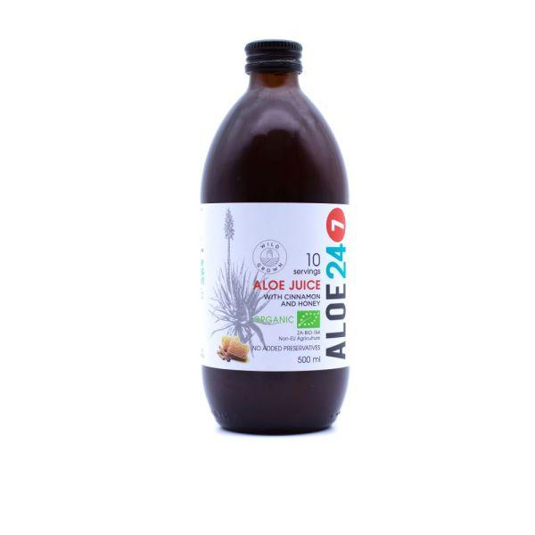 Aloe 24/7 Juice  with Cinnamon & Honey 500ml in a glass jar. Certified Organic