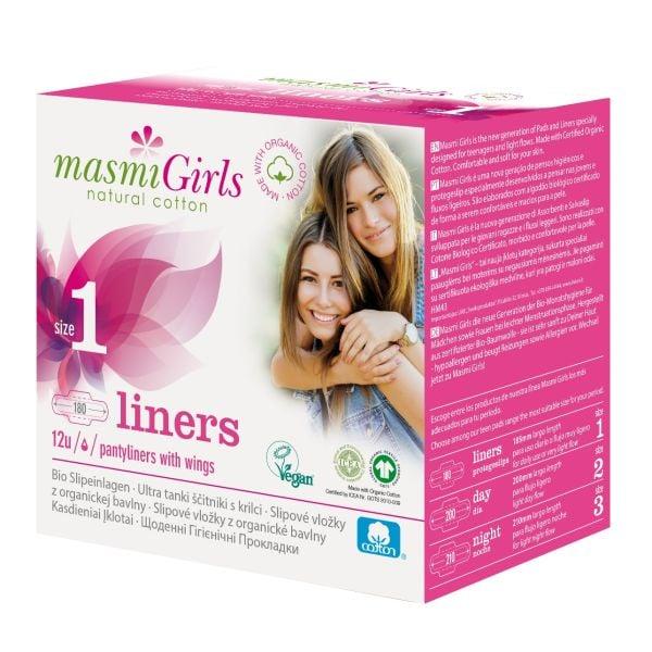 Masmi Organic Cotton Girls Pantyliners Size 1 12u